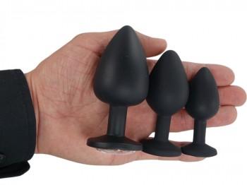 Deluxe Silikon Buttplug Set schwarz (Ø 28,35,40 mm)