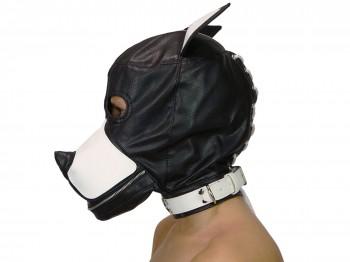 Petplay Hundemaske mit Knebel schwarz weiß