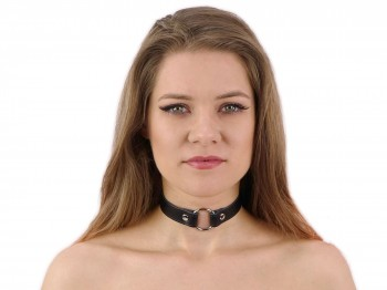Bondage Choker Halsband mit Ring schwarz