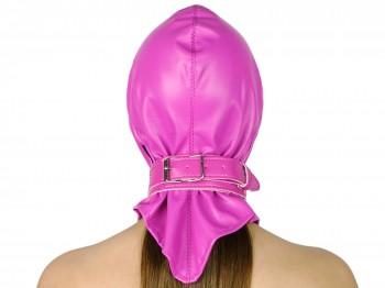 Kopf-Haube Maske mit Gummizug und Halsband pink