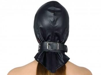 Kopf-Haube Maske mit Gummizug und Halsband schwarz