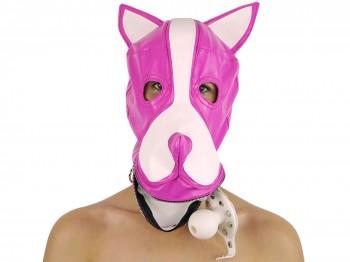Petplay Hundemaske mit Knebel pink-weiß