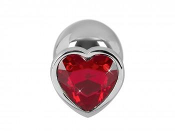 Analplug mit rotem Schmuckstein in Herzform 34 mm