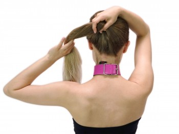 40 mm breites Halsband mit Ring der O Pink