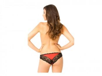 Roter Slip mit schwarzer Blütenspitze Gr. S/M