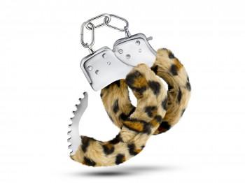 Temptasia Cuffs mit Leopardenmuster Plüschüberzug Handschellen