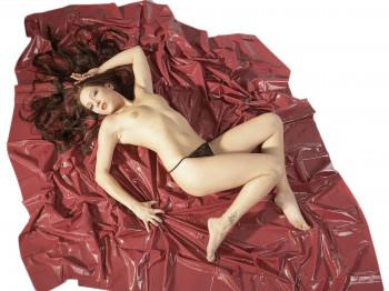 Fetisch Collection Lack-Laken Bordeauxrot 200 x 230 cm
