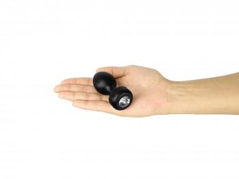 Aluminium Buttplug schwarz mit Kristall 35 mm