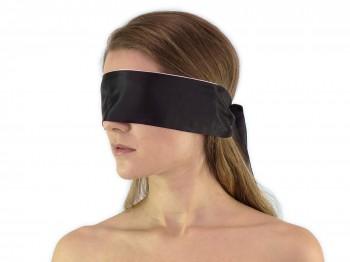 Premium Satin BDSM Augenbinde Schwarz Weiß