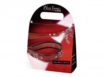 Zado Halsfessel aus rotem Lackleder und Leine