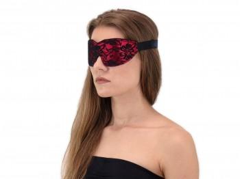 Komfort Augenbinde mit Gummizug Rot-Schwarz