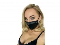 Maske mit Glitzerstein schwarz