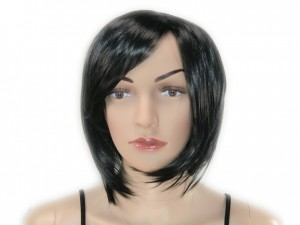 Perücke schulterlang wig schwarz
