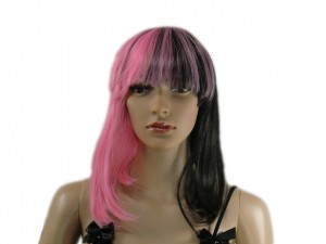 Perücke 2 farbig schwarz pink
