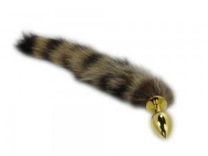 Petplay Buttplug mit Schwanz gold
