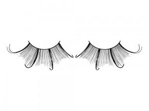 Wimpern aus schwarzen gebogenen Federn