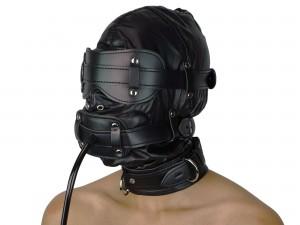 Isolationsmaske mit Pump Dildoknebel Sklaven Maske schwarz