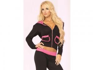 Sweatjacke in schwarz / pink Gr. S, M und L