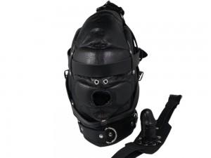 Schallgedämmte Isolationsmaske mit Dildo-Knebel