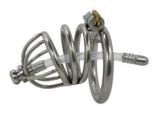 2469 XS Edelstahl Peniskäfig mit Dilator 50 mm