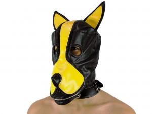 Petplay Hundemaske mit Stopfknebel schwarz gelb