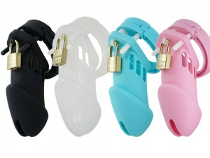 Male Chastity CB Silikon Peniskäfig lang verschiedene Farben
