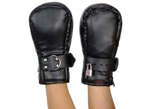 BDSM Fessel-Handschuhe Fist Mitts abschließbar kegelförmig