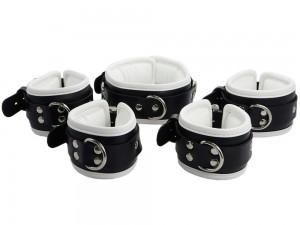 Bondage Manschetten Set gepolstert und abschließbar schwarz weiß