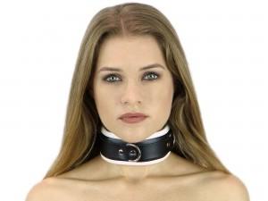 Bondage Halsband gepolstert und abschließbar schwarz weiß