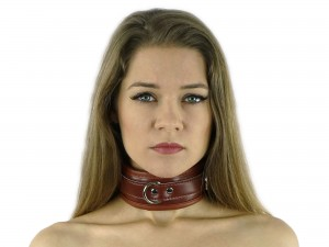 Bondage Halsband gepolstert und abschließbar braun