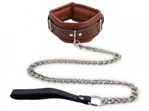 Halsband mit Leine gepolstert und abschließbar braun