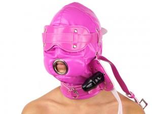 Isolationsmaske mit Dildoknebel Maske Pink