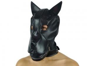 Petplay Hundemaske mit Knebel schwarz