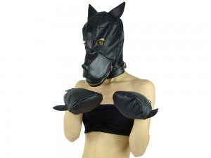 Black Puppy Petplay Set - Hundepfoten und Hundemaske