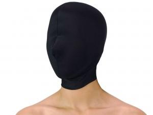 Dehnbare Kopfmaske ohne Öffnungen schwarz