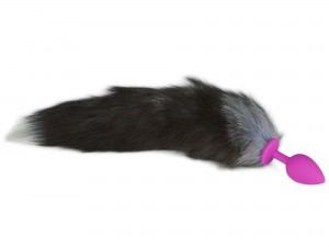 Fox Tail Buttplug Silikon Pink Anthrazit Gr. M
