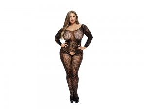 Langärmliger Catsuit mit floralem Muster Style No. 5001Q