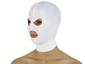 Dehnbare Kopfmaske mit 3 Öffnungen weiß