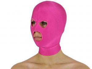 Dehnbare Kopfmaske mit 3 Öffnungen pink