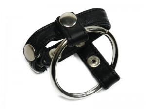 Cockring aus Stahl und weichem Leder schwarz