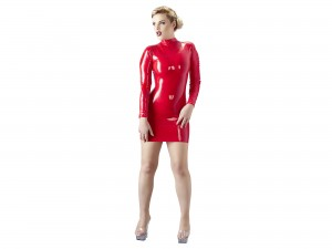 Rotes Latex Minikleid Gr. M