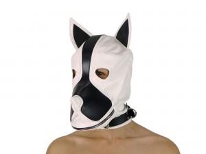 Petplay Hundemaske mit Knebel Weiß-Schwarz