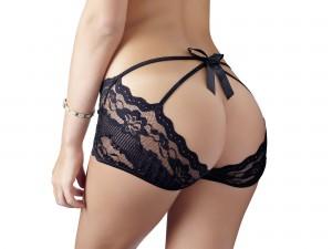 Pofreier schwarze Spitzen-Panties Gr. S, M, L und XL