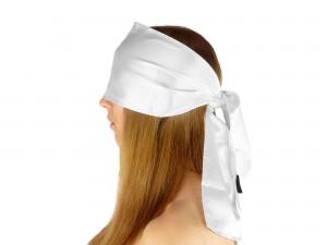 Breite Double-Layer premium Satin Augenbinde Weiß