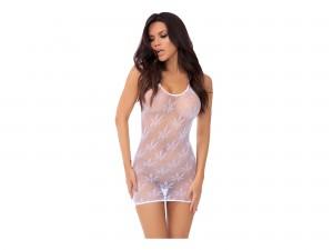 Festival Flirt Kleid mit Hanfblätter weiß
