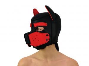 Petplay Neopren Hundemaske Good Puppy schwarz rot