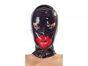Latex-Kopfmaske mit roten Lippen