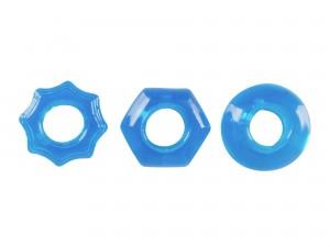 3 blaue Penisringe in verschiedenen Formen