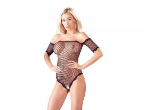 Body ouvert aus elastischem Netz mit kurzem Arm