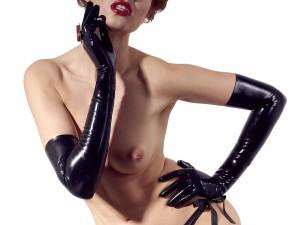 Lange, schwarze Latex-Handschuhe Gr. S, M, L und XL
